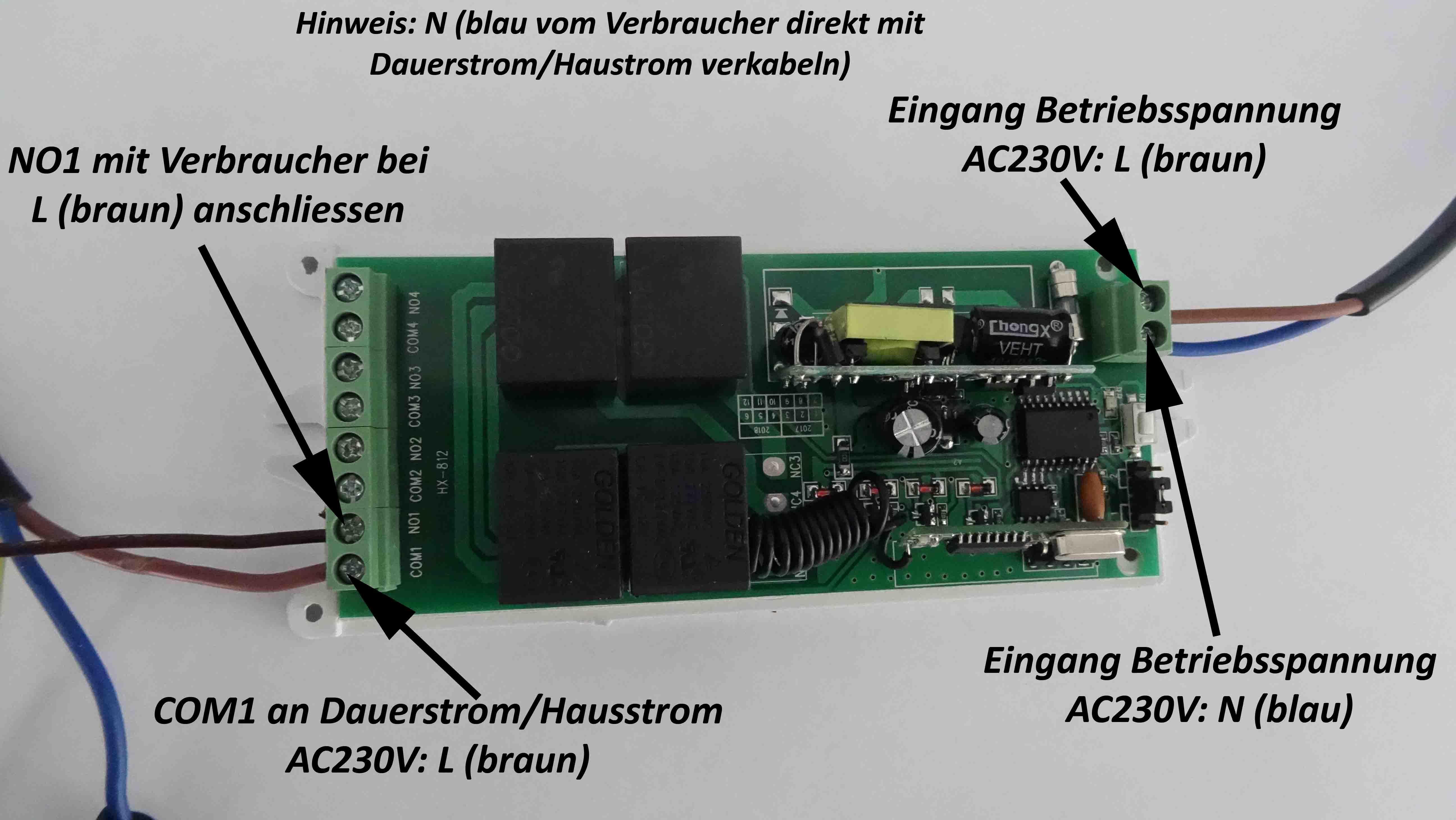 230V 4 Kanal 433Mhz Funk Empfänger Schalter Garagentor Handsender potentialfrei